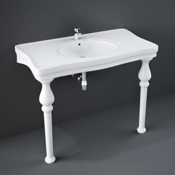 RAK Console Deluxe Basin with Ceramic Legs 1050mm Wide - 1 Tap Hole