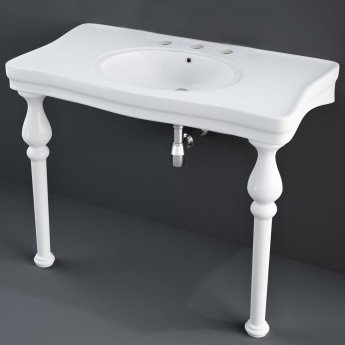 RAK Console Deluxe Basin with Ceramic Legs 1050mm Wide - 3 Tap Hole