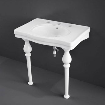 RAK Console Alexandra Basin with Ceramic Legs 850mm Wide - 3 Tap Hole