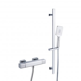 RAK Cool Touch Square Thermostatic Bar Shower Valve with Slider Rail Kit 700mm Height - Chrome