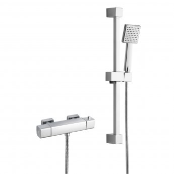 RAK Cool Touch Square Thermostatic Bar Shower Valve with Slider Rail Kit 610mm Height - Chrome
