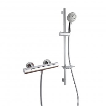 RAK Cool Touch Round Thermostatic Bar Shower Valve with Slider Rail Kit 820mm Height - Chrome