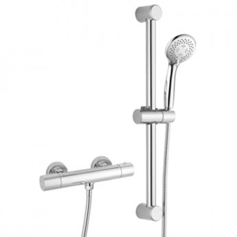 RAK Cool Touch Round Thermostatic Bar Shower Valve with Slider Rail Kit 580mm Height - Chrome