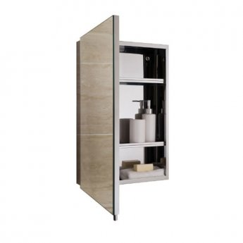 RAK Cube Mirrored Bathroom Cabinet 600mm H x 400mm W Stainless Steel