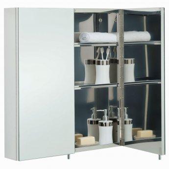 RAK Delta Mirrored Bathroom Cabinet 600mm H x 670mm W Stainless Steel