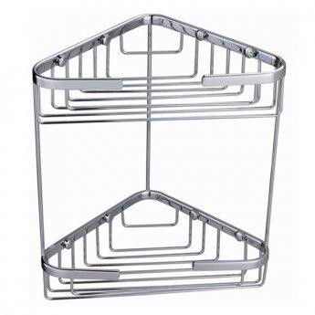 RAK Double Corner Basket Wall Mounted - Chrome
