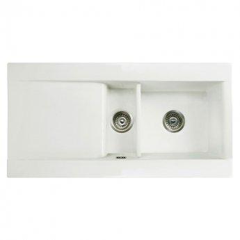 RAK Gourmet Dream 1 Ceramic Kitchen Sink 1.5 Bowl Reversible Drainer 1010mm L x 510mm W - White