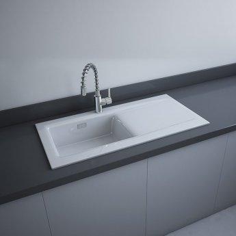 RAK Gourmet Dream 2 Ceramic Kitchen Sink 1.0 Bowl Reversible Drainer 1010mm L x 510mm W White