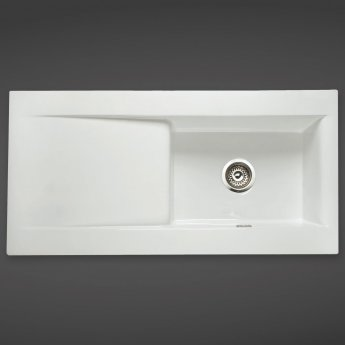 RAK Gourmet Dream 2 Ceramic Kitchen Sink 1.0 Bowl Reversible Drainer 1010mm L x 510mm W White