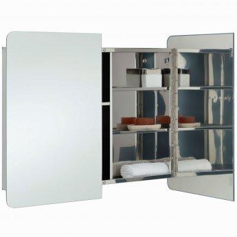 RAK Duo Mirrored Bathroom Cabinet 600mm H x 800mm W Stainless Steel