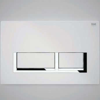 RAK Ecofix Polished Chrome Surrounding Rectangular Dual Flush Plate - White