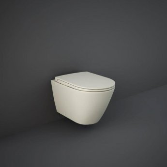 RAK Feeling Wall Hung Rimless Pan with Soft Close Seat - Matt Greige
