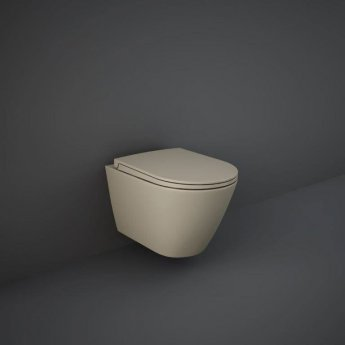 RAK Feeling Wall Hung Rimless Pan with Soft Close Seat - Matt Cappuccino