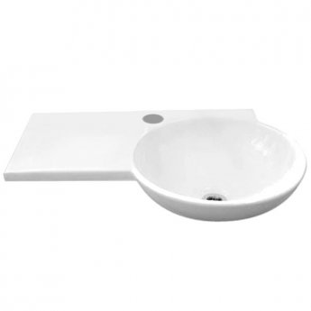 RAK Gina Wall Hung Basin with Left Hand Ledge 675mm Wide - 1 Tap Hole