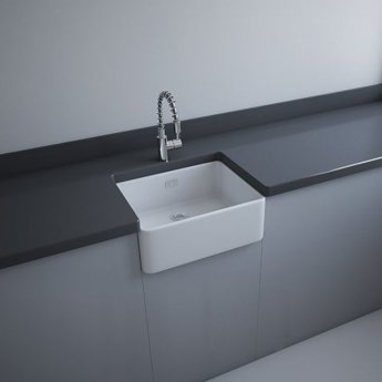 RAK Gourmet 2 Ceramic Belfast Kitchen Sink 1.0 Bowl 595mm L x 475mm W - White