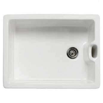 RAK Gourmet 8 Ceramic Belfast Kitchen Sink 1.0 Bowl with Weir Overflow 595mm L x 455mm W - White