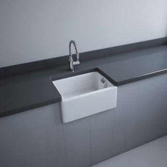 RAK Gourmet 8 Ceramic Belfast Kitchen Sink 1.0 Bowl with Weir Overflow 595mm L x 455mm W - White