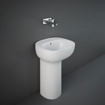 RAK Illusion Freestanding Wash Basin with Hidden Fixing 540mm Wide 0 Tap Hole - Alpine White