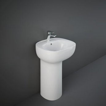 RAK Illusion Freestanding Wash Basin with Hidden Fixing 540mm Wide 1 Tap Hole - Alpine White