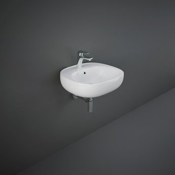 RAK Illusion Wall Hung Wash Basin 500mm Wide 1 Tap Hole - Alpine White