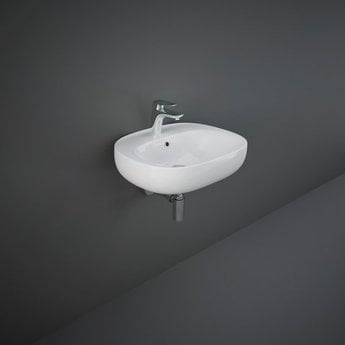 RAK Illusion Wall Hung Wash Basin 550mm Wide 1 Tap Hole - Alpine White