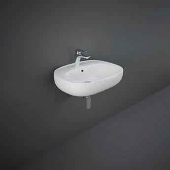 RAK Illusion Wall Hung Wash Basin 600mm Wide 1 Tap Hole - Alpine White