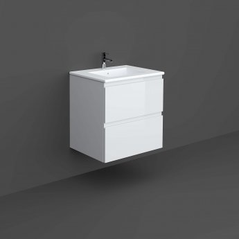 RAK Joy Wall Hung Vanity Unit with Basin 600mm Wide - Pure White