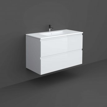 RAK Joy Wall Hung Vanity Unit with Basin 1000mm Wide - Pure White