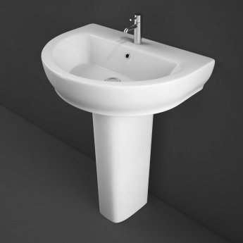 RAK Moon Basin with Full Pedestal - 800mm Wide - 1 Tap Hole