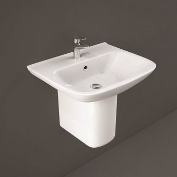 RAK Origin 62 Basin with Semi Pedestal 650mm Wide - 1 Tap Hole