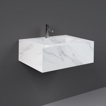 RAK Precious Wall Hung Console Wash Basin 630mm Wide 1 Tap Hole - Carrara