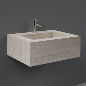 RAK Precious Wall Hung Console Wash Basin 630mm Wide 1 Tap Hole - Travertino