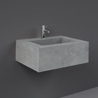 RAK Precious Wall Hung Console Wash Basin 630mm Wide 1 Tap Hole - Surface Cool Grey