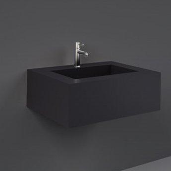 RAK Precious Wall Hung Console Wash Basin 630mm Wide 1 Tap Hole - Uni Dark Black