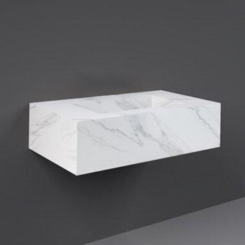 RAK Precious Wall Hung Console Wash Basin 830mm Wide 0 Tap Hole - Carrara
