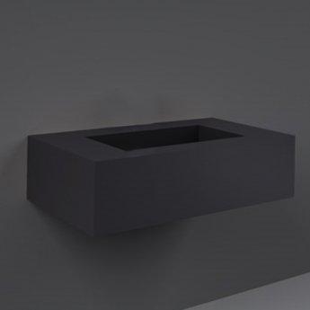 RAK Precious Wall Hung Console Wash Basin 830mm Wide 0 Tap Hole - Uni Dark Black