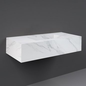 RAK Precious Wall Hung Console Wash Basin 1030mm Wide 0 Tap Hole - Carrara