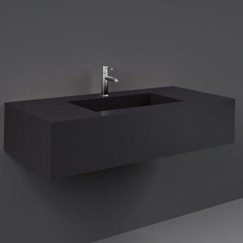 RAK Precious Wall Hung Console Wash Basin 1030mm Wide 1 Tap Hole - Uni Dark Black