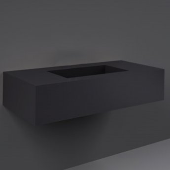 RAK Precious Wall Hung Console Wash Basin 1030mm Wide 0 Tap Hole - Uni Dark Black