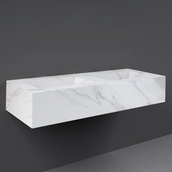 RAK Precious Wall Hung Console Wash Basin 1230mm Wide 0 Tap Hole - Carrara
