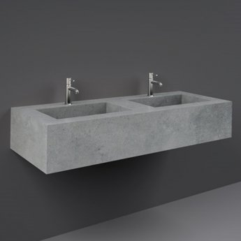 RAK Precious Wall Hung Console Wash Basin 1230mm Wide 2 Tap Hole - Surface Cool Grey