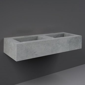 RAK Precious Wall Hung Console Wash Basin 1230mm Wide 0 Tap Hole - Surface Cool Grey