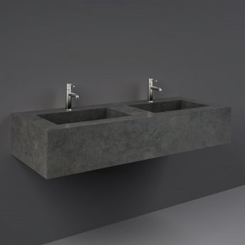 RAK Precious Wall Hung Console Wash Basin 1230mm Wide 2 Tap Hole - Behind Grey