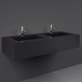 RAK Precious Wall Hung Console Wash Basin 1230mm Wide 2 Tap Hole - Uni Dark Black