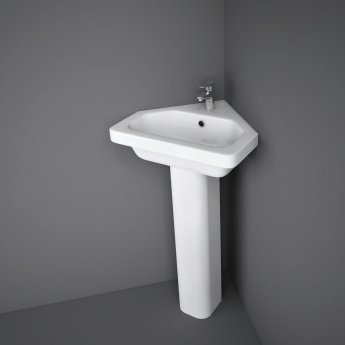 RAK Resort Corner Basin & Full Pedestal 450mm Wide 1 Tap Hole