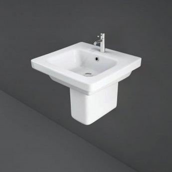 RAK Resort Wash Basin & Semi Pedestal 500mm Wide 1 Tap Hole