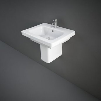 RAK Resort Wash Basin & Semi Pedestal 550mm Wide 1 Tap Hole