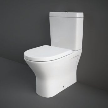 RAK Resort Mini Close Coupled Back to Wall Rimless Toilet WC Pack - Soft Close Seat