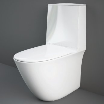 RAK Sensation Rimless Close Coupled Toilet with Touchless Flush Cistern Bottom Inlet - Soft Close Seat