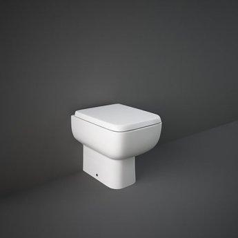 RAK Series 600 Rimless Back to Wall Toilet - Slimline Wrapover Urea Soft Close Seat